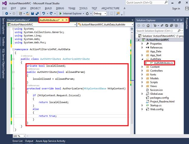 Action Filters in ASP NET MVC 5 0