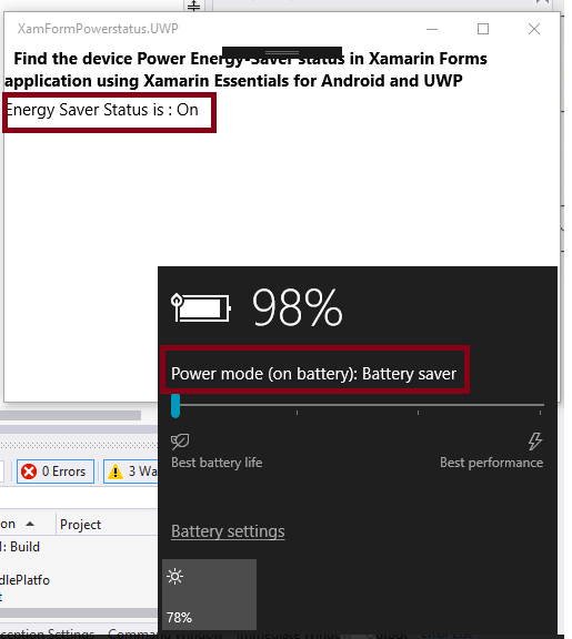 Find The Device Power Energy-Saver Status In Xamarin Forms Application Using Xamarin Essentials For Android And UWP