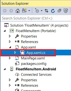 Float Menu Item Working Navigation In Android And UWP Using Xamarin.Forms