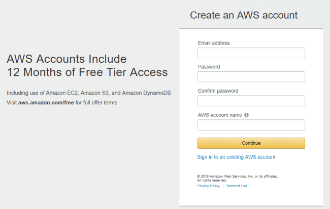 Create a Free AWS account for one year