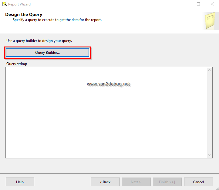 Getting started with ssrs 2016 part one for Query design window