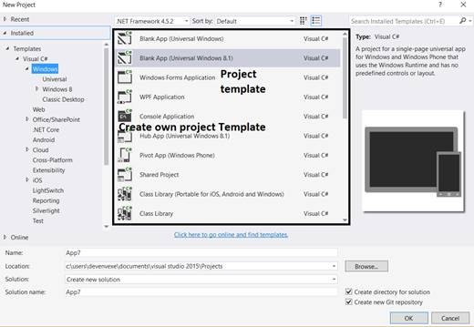 Getting started with the custom project template using visual studio visual studio maxwellsz