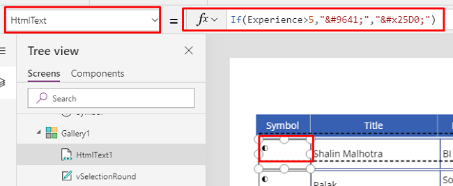 How To Add A Conditional Column With Unicode Symbols In PowerApps Blank Grid - PowerApps Grid View