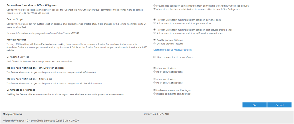 Default Settings Available For Online From SharePoint Online Admin Center