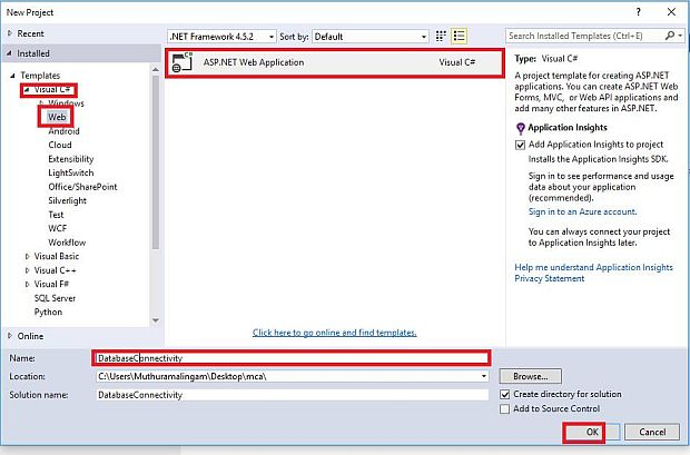how to connect sql database in asp net using c  and insert