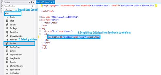 how to read json data in asp net c