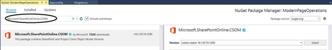 "Office 365 - SharePoint Online - Installing ""Microsoft.SharePointOnline.CSOM"" NuGet package"