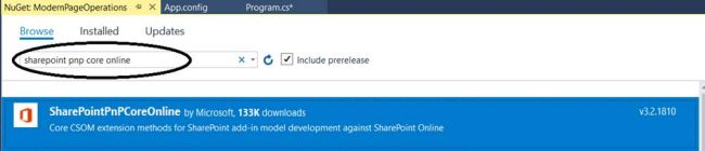"Office 365 - SharePoint Online - Installing ""SharePoint PnP Core Online"" NuGet package"