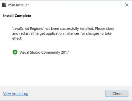 Include Regions In TypeScript While Working In Visual Studio CodeVSIX installer - Successfully installation of 'JavaScript Regions' tool