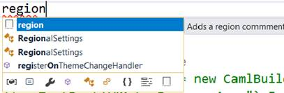 Include Regions In TypeScript While Working In Visual Studio CodeVisual Studio - TypeScript file - region snippet in IntelliSense