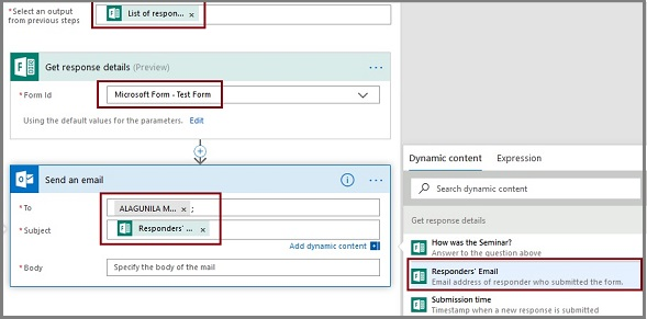 how to notify a user of newly submitted microsoft forms response via