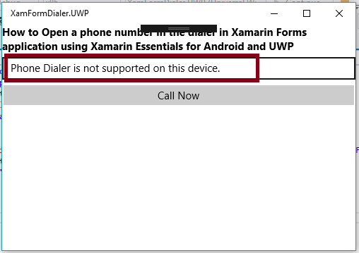 How To Open A Phone Number In The Dialer In Xamarin Forms Application Using Xamarin Essentials For Android And UWP