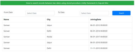 Texthow To Search Records Between Two Dates Using Stored Procedure, Entity Framework In ASP.NET MVC