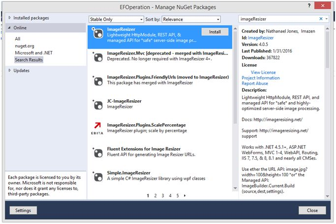 Manage NuGet Packages window