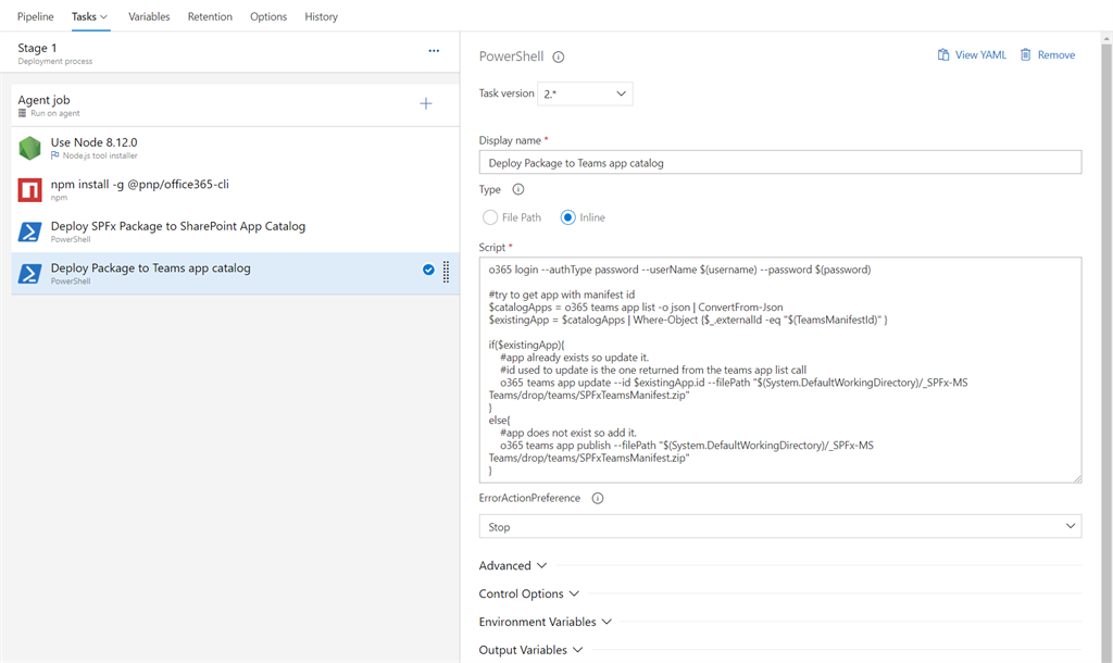 Implement CI/CD with Office 365 CLI for SPFx Solution for MS