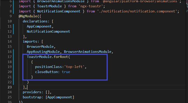 Implement Toastr notification in Angular 7