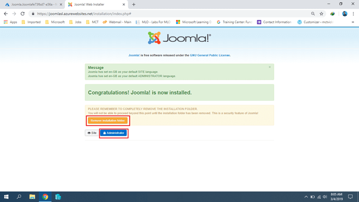Installing Joomla On Azure
