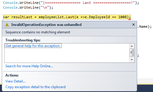 LINQ Extension Methods - Element Operator And Set Operator