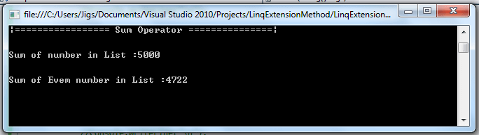 Linq extension methods Quantifier and Aggregation operator