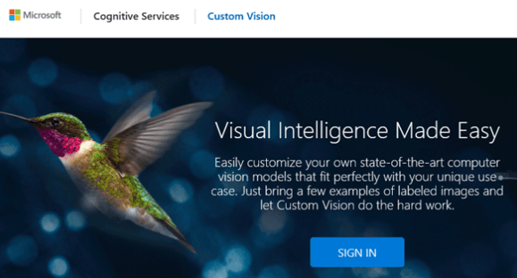 Microsoft Artificial Intelligence CustomVision Service