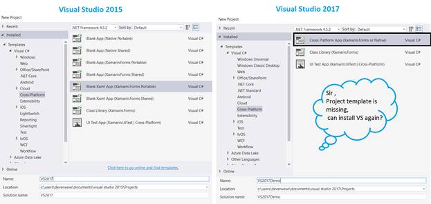 how to create new c project in visual studio 2017