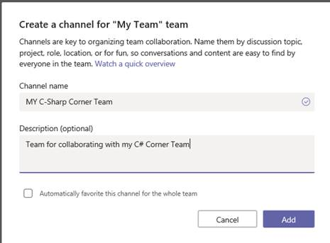 O365 - Teams - Create Channel dialog - Adding Channel to Team