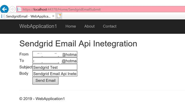 .NET Core App Sending An Email Using Sendgrid