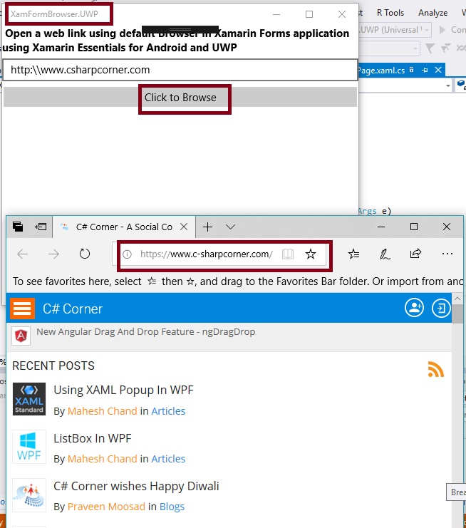 Open A Web Link With Default Browser In Xamarin Forms Application Using Xamarin Essentials For Android And UWP