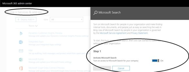 Office 365 - Microsoft Search - Tenant level option