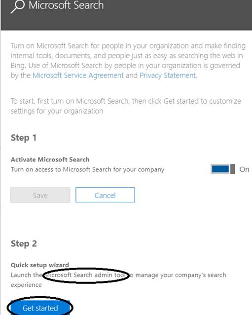 "Office 365 - Microsoft Search - Option for launching ""Microsoft Search admin tool"""