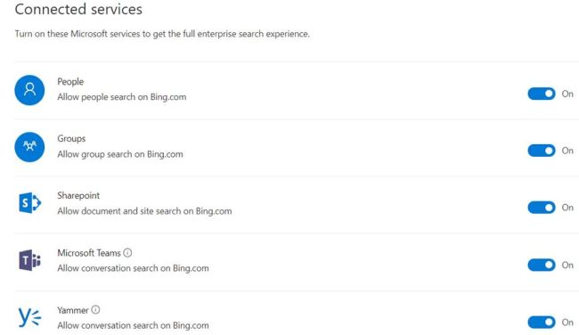 Office 365 - Microsoft Search - Office 365 services in allowed in bing search