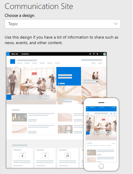 overview of sharepoint communication site