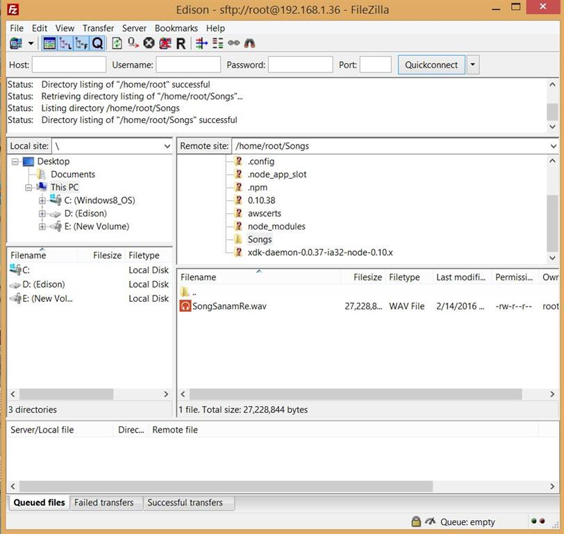 Edison using FileZilla