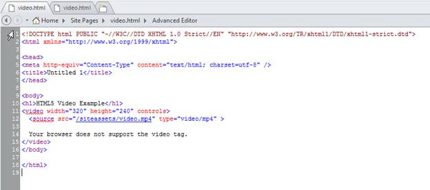 a719cda1bfb34 ... browser does not support video tag. Your code in HTML file looks like  below. code. Video File