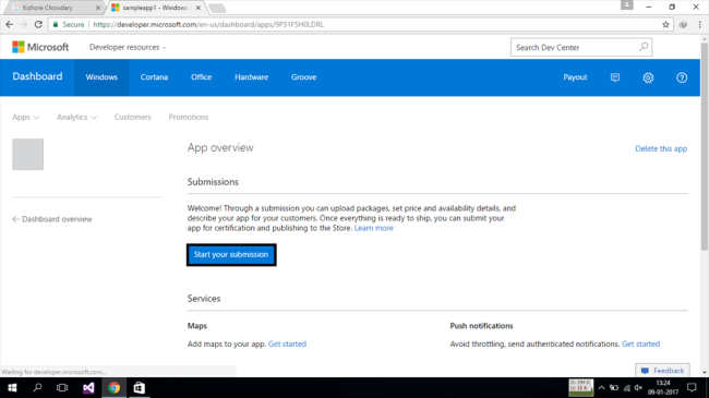 publishing applications on windows store
