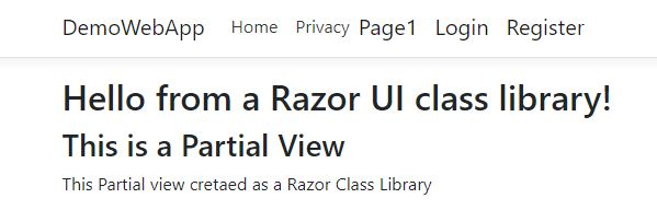 Create Reusable View Using Razor Class Library In ASP.NET Core