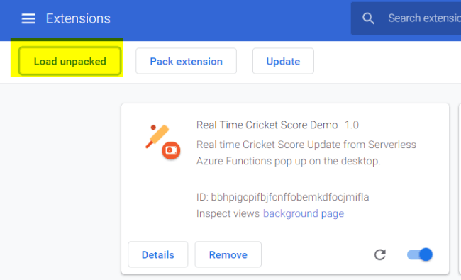 load unpacked extension