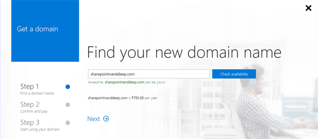 Register Public Domain With Office 365