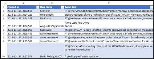 Save Specific Twitter Tweet To Excel Spreadsheet With Azure Logic App
