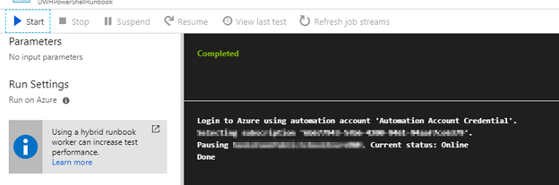 Schedule Pause - Resume for your Azure Data Warehouse
