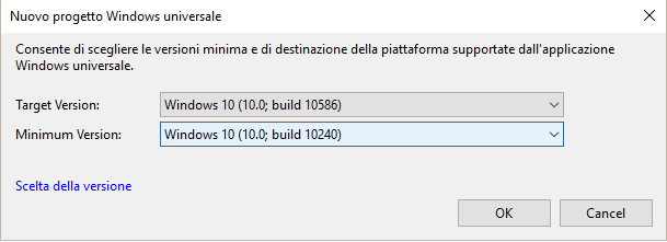 The minimum version and the target of the Windows build