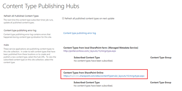SharePoint 2019 Configure Hybrid Content Types