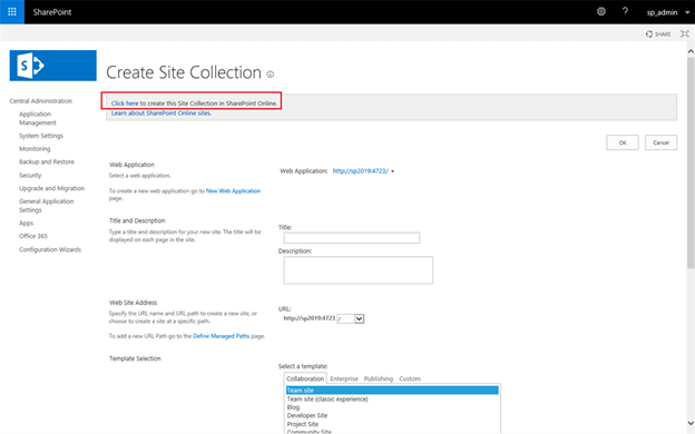 SharePoint 2019 Hybrid Self-Service Site Creation