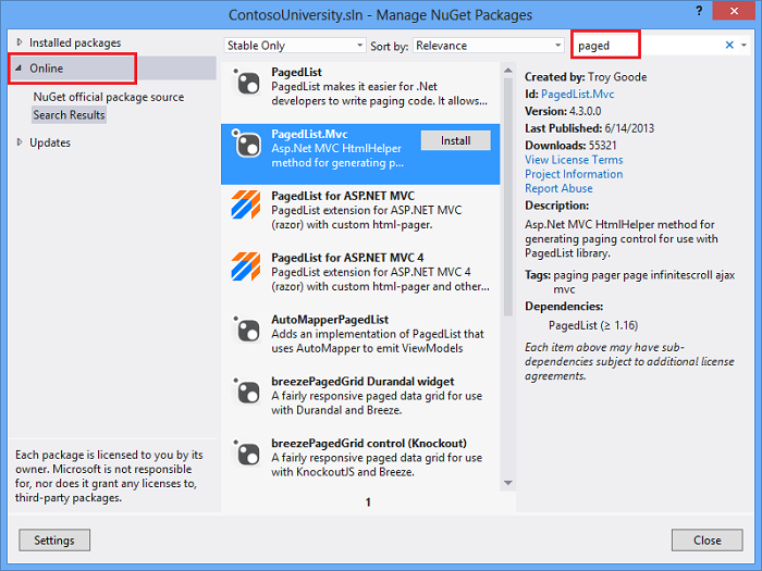 Paging And Sorting In Asp Net Mvc