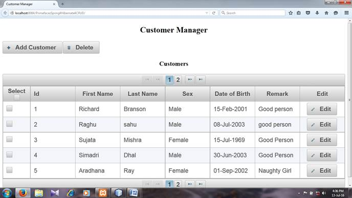 Index.xhtml page