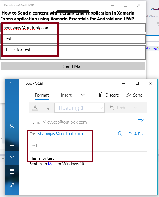How To Send A Content With Default Email Application In Xamarin Forms Application Using Xamarin Essentials For Android And UWP
