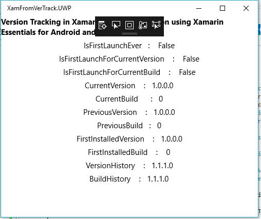 Version Tracking in Xamarin Forms application using Xamarin Essentials for Android and UWP