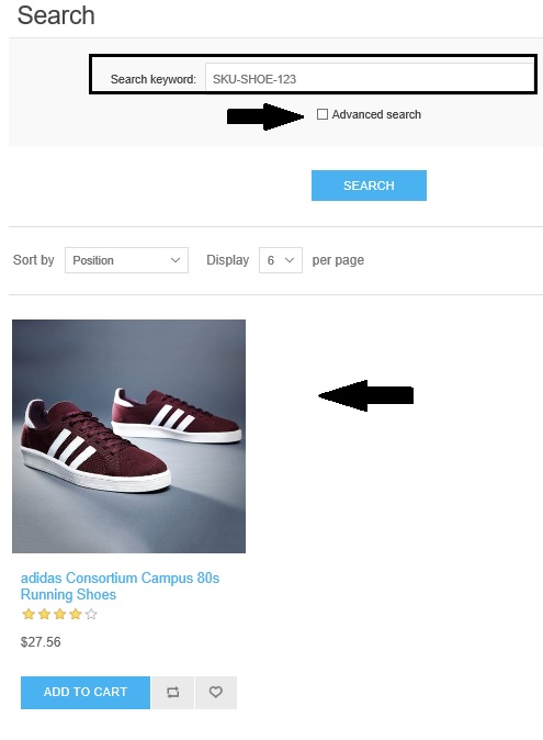 Try searching a product by its SKU number via a basic search option and you  will get the product in the search results without going into