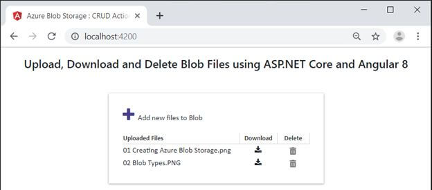 Upload, Download, And Delete Blob Files Using ASP.NET Core And Angular 8