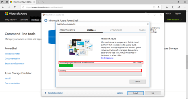 Download progress Microsoft Azure PowerShell